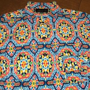 JONES NEW YORK Blue & Orange Button Down Shirt 1X